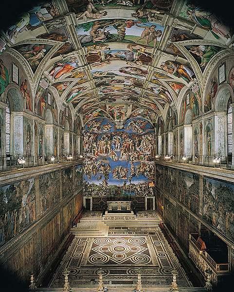 ミケランジェロのシスティナ礼拝堂天井画